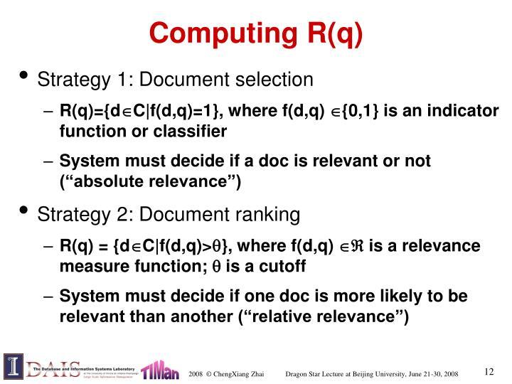 Computing R(q)