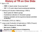 history of tr on one slide