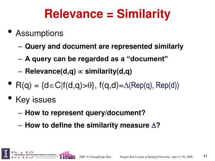 Relevance = Similarity