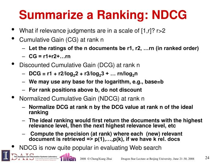 Summarize a Ranking: NDCG