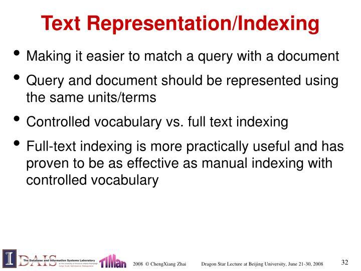 Text Representation/Indexing