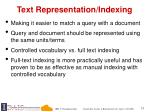 text representation indexing