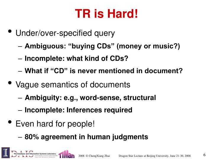 TR is Hard!