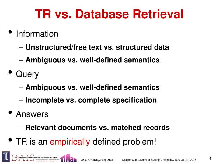 TR vs. Database Retrieval