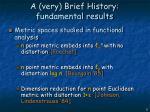 a very brief history fundamental results