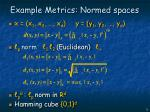 example metrics normed spaces