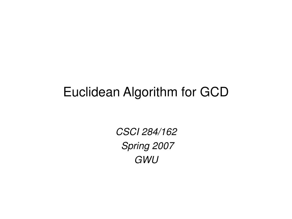 euclidean algorithm for gcd l.