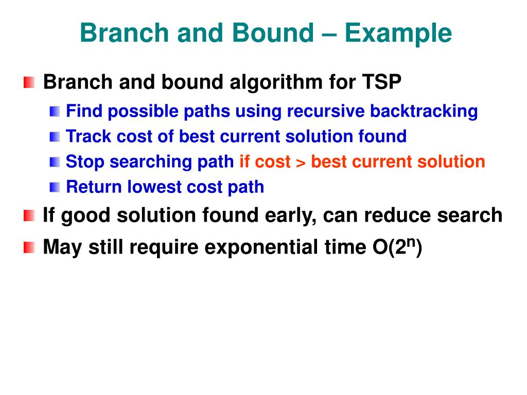 Branch and Bound – Example