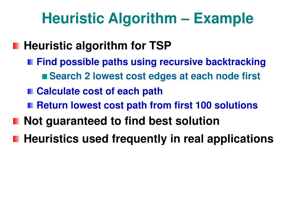 Heuristic Algorithm – Example