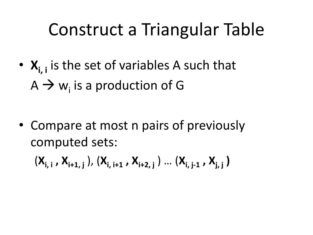Construct a Triangular Table
