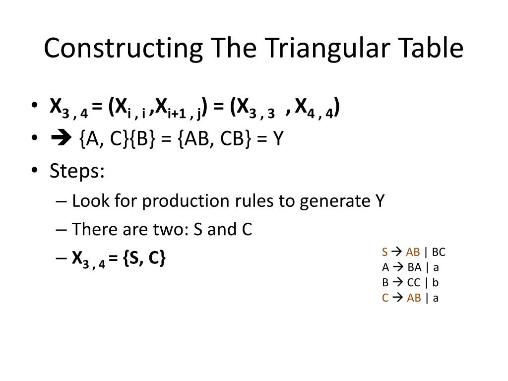 Constructing The Triangular Table