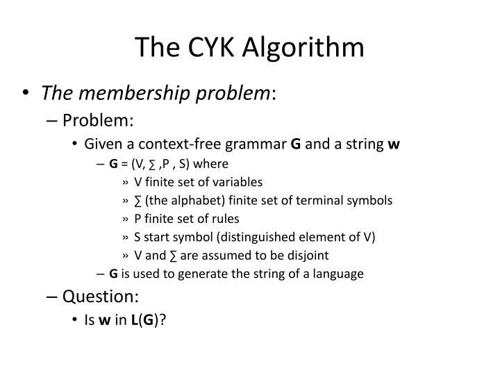 The cyk algorithm2