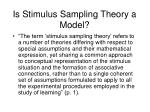 is stimulus sampling theory a model