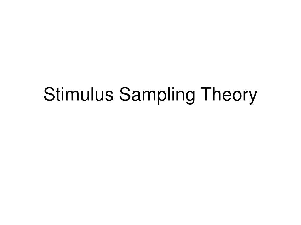 stimulus sampling theory l.