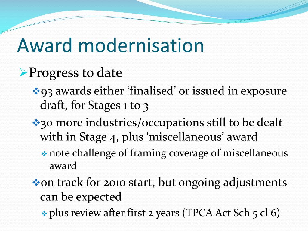 Award modernisation
