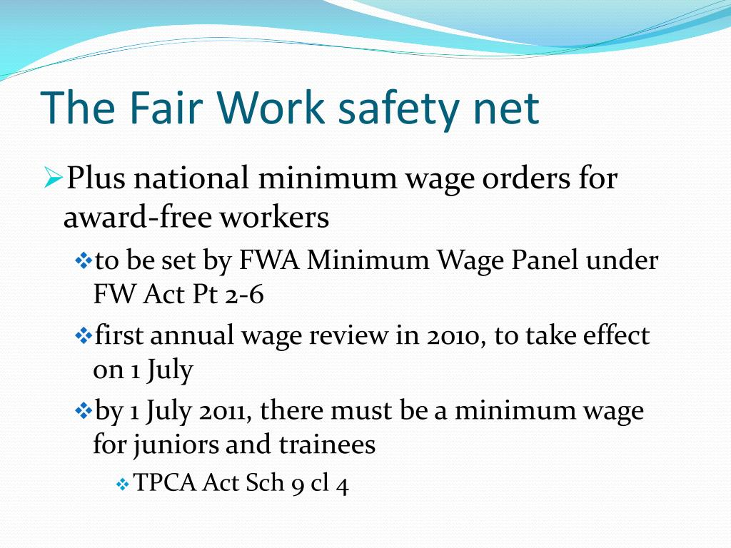 The Fair Work safety net