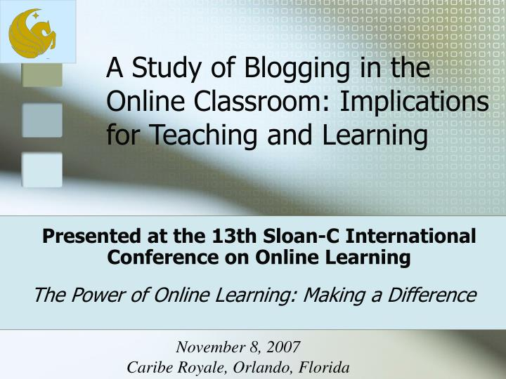 Presented at the 13th sloan c international conference on online learning