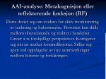 aai analyse metakognisjon eller reflekterende funksjon rf