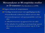 metaanalyser av 80 empiriske studier av d m nster van ijzendoorn et al 1999