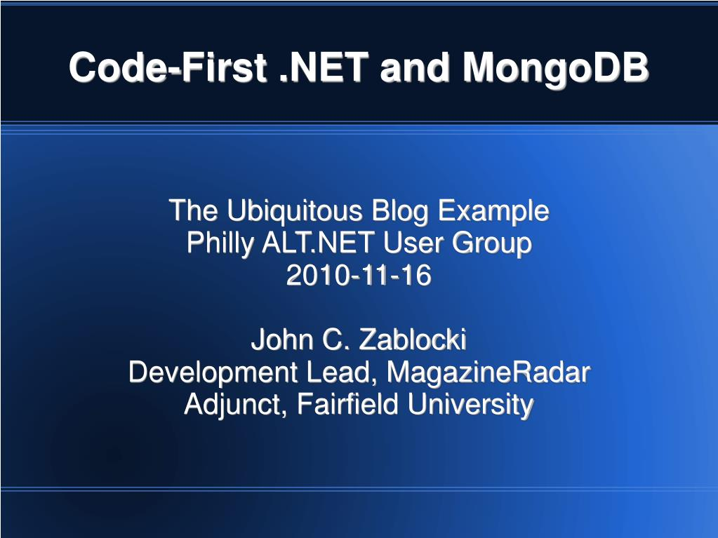 code first net and mongodb l.