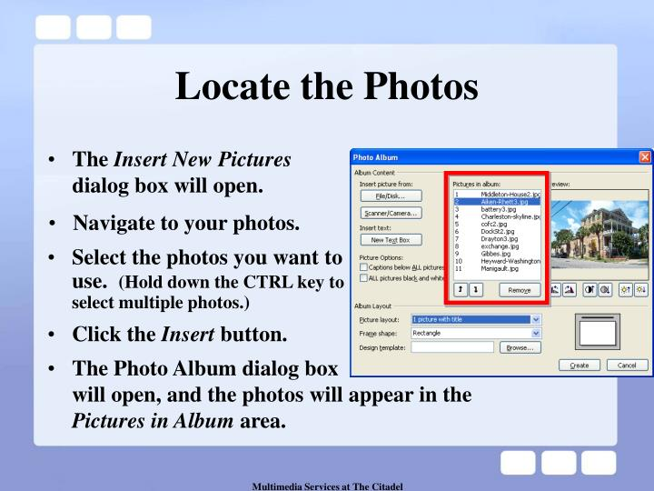 Locate the photos