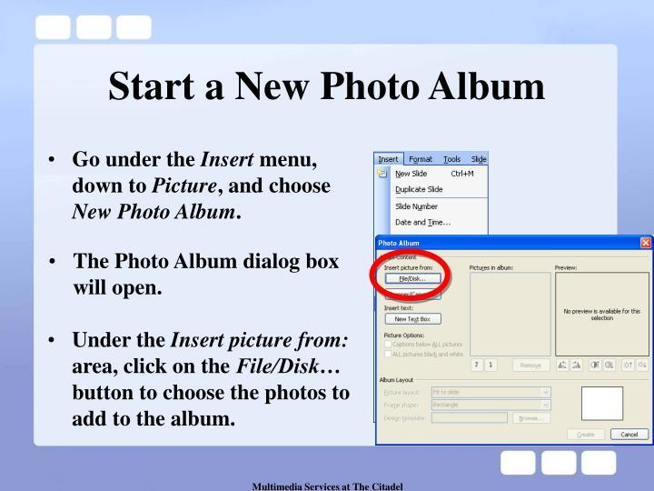Start a new photo album