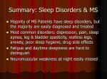 summary sleep disorders ms