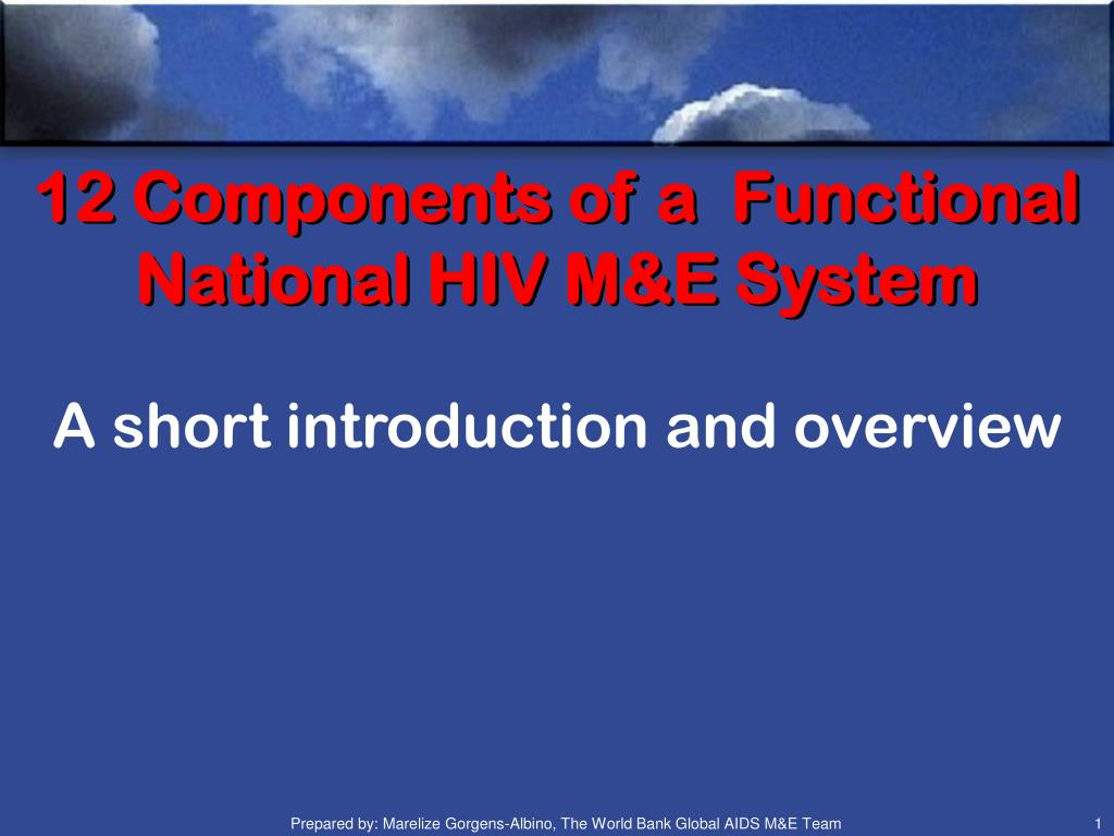 12 components of a functional national hiv m e system l.