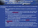 one definition for what is a national hiv m e system has been developed