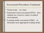 assessment procedures continued13