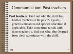 communication past teachers