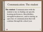 communication the student
