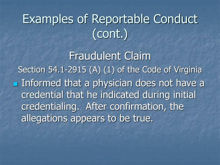 Examples of reportable conduct cont