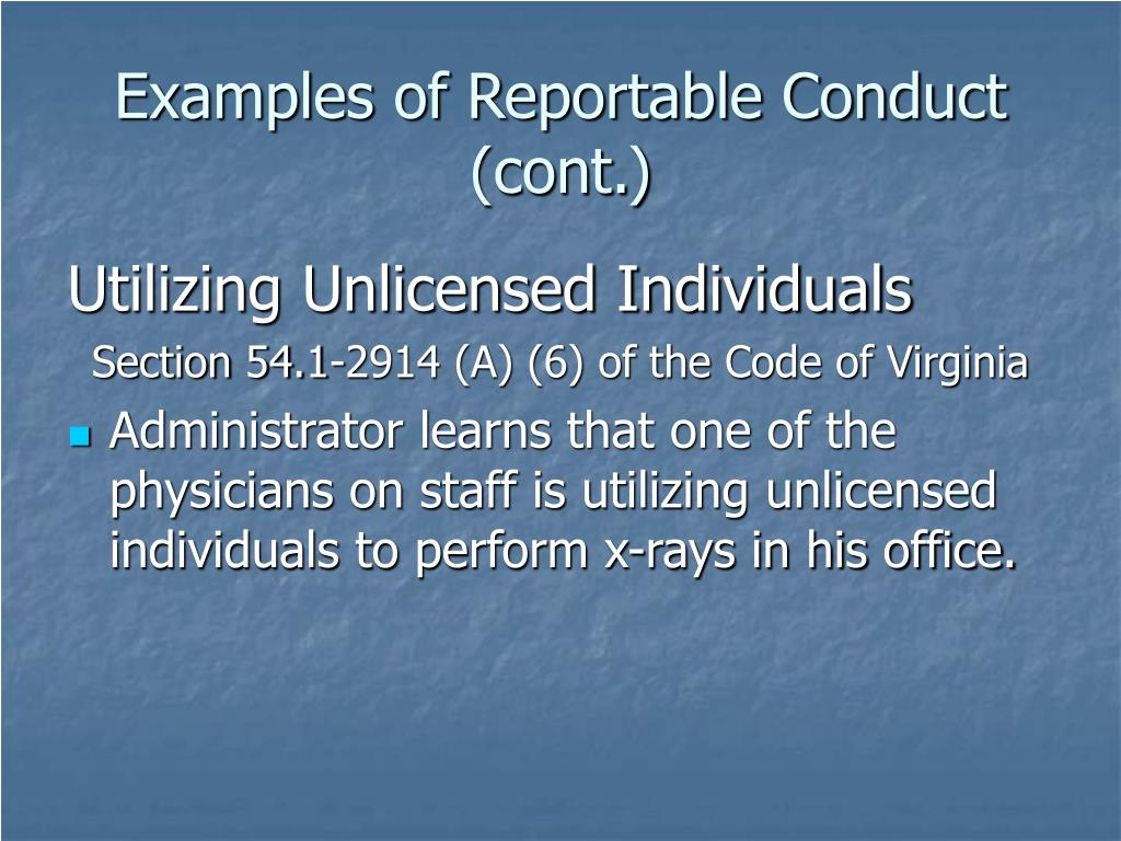 Examples of Reportable Conduct (cont.)