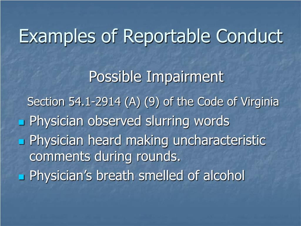 Examples of Reportable Conduct