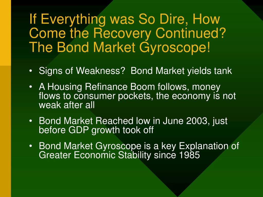 If Everything was So Dire, How Come the Recovery Continued?  The Bond Market Gyroscope!
