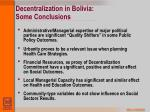 decentralization in bolivia some conclusions
