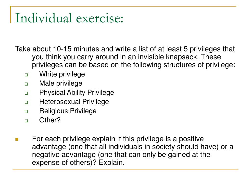 Individual exercise: