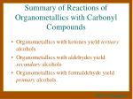summary of reactions of organometallics with carbonyl compounds