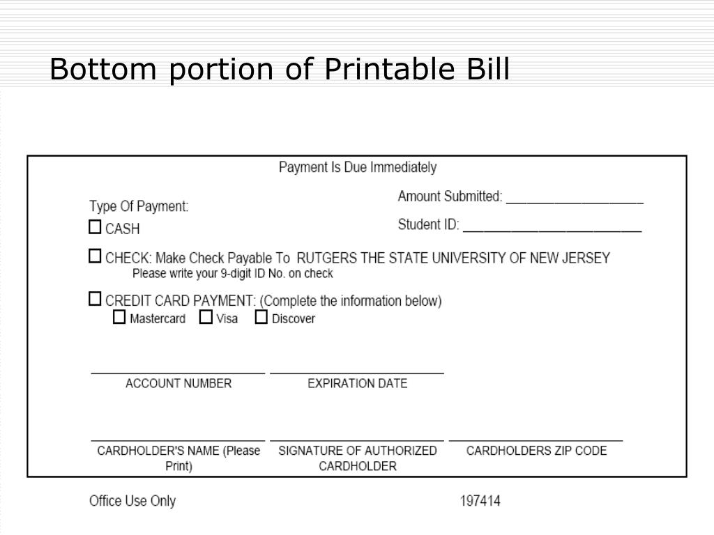 Bottom portion of Printable Bill