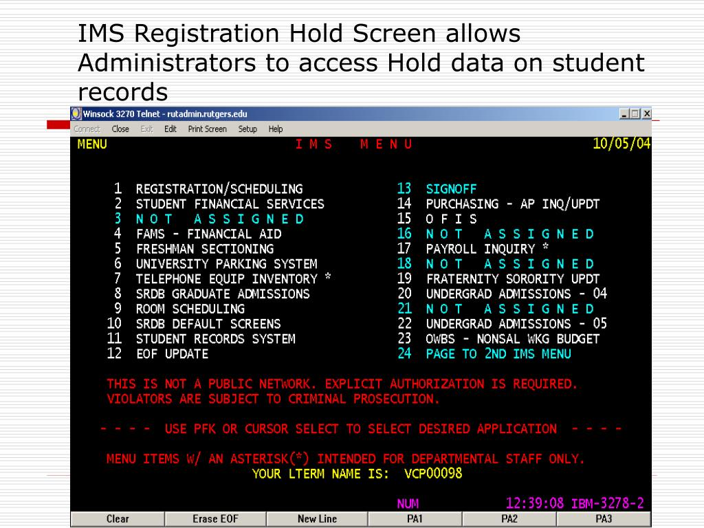 IMS Registration Hold Screen allows Administrators to access Hold data on student records