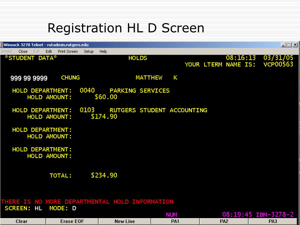 Registration HL D Screen