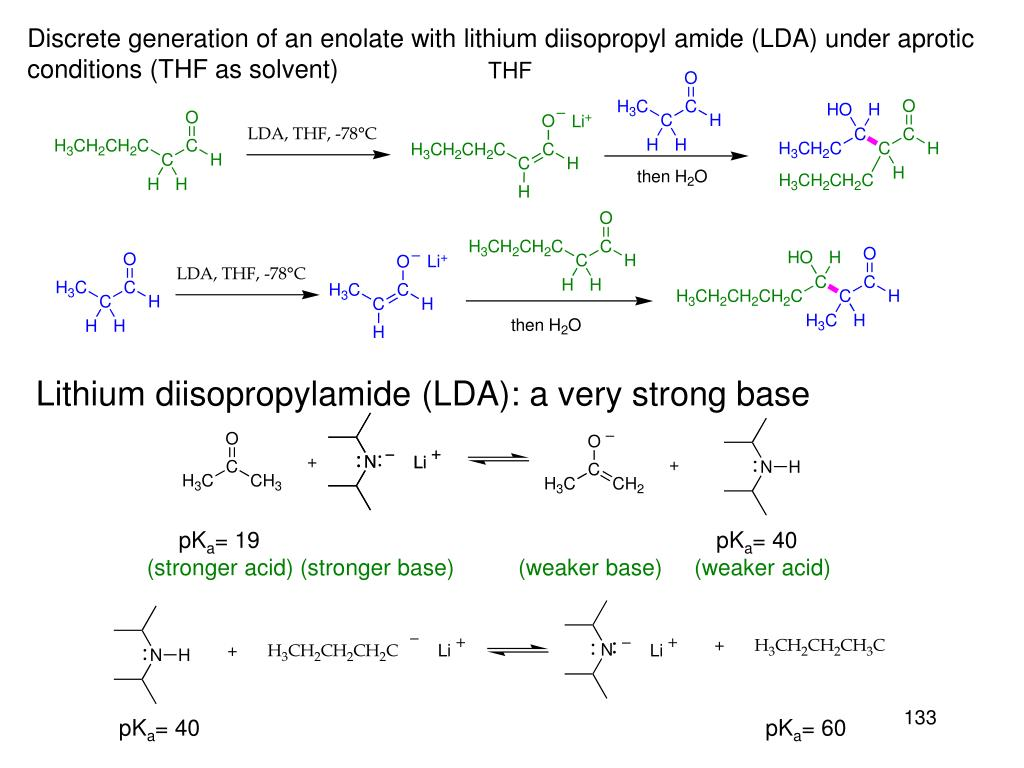 Discrete generation of an enolate with lithium diisopropyl amide (LDA) under aprotic
