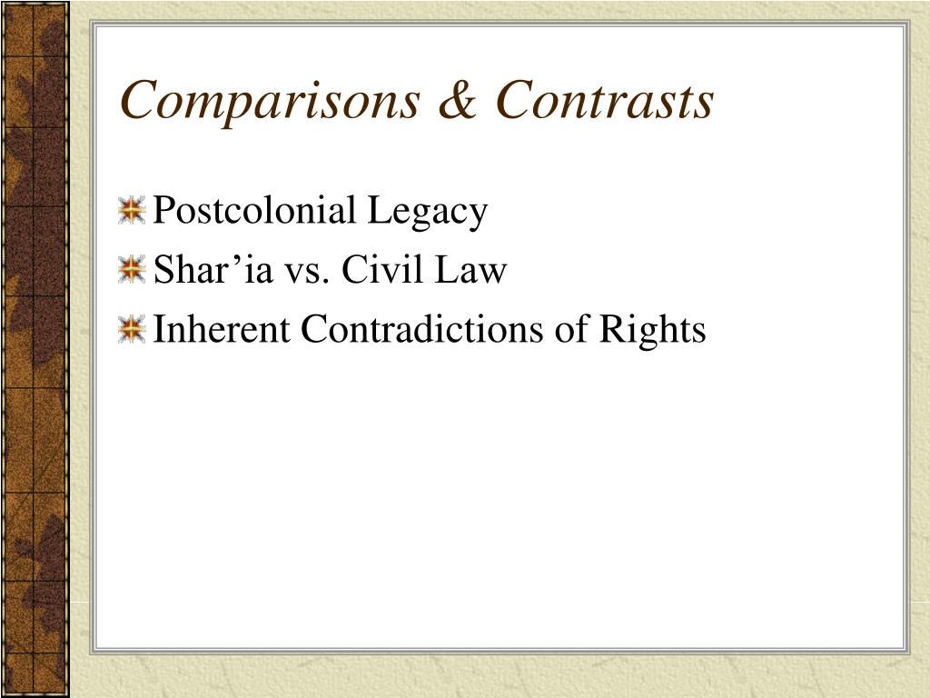 Comparisons & Contrasts