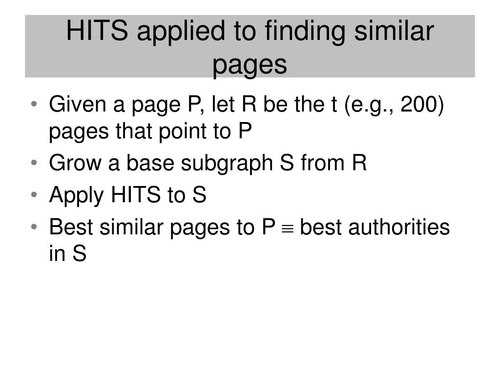 HITS applied to finding similar pages