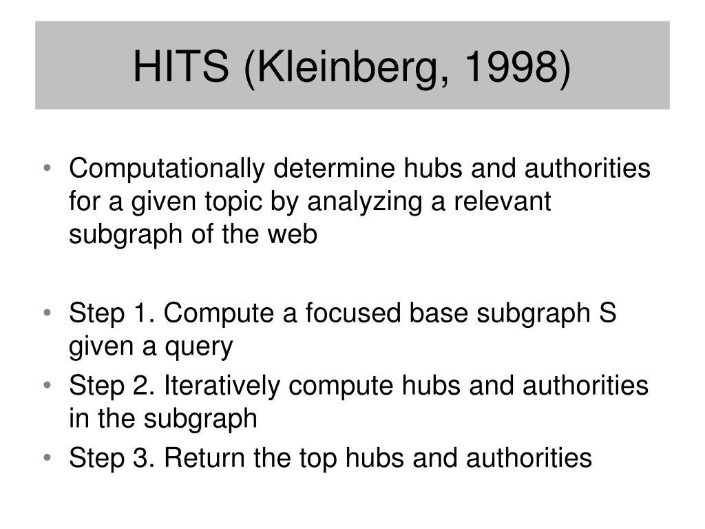 HITS (Kleinberg, 1998)