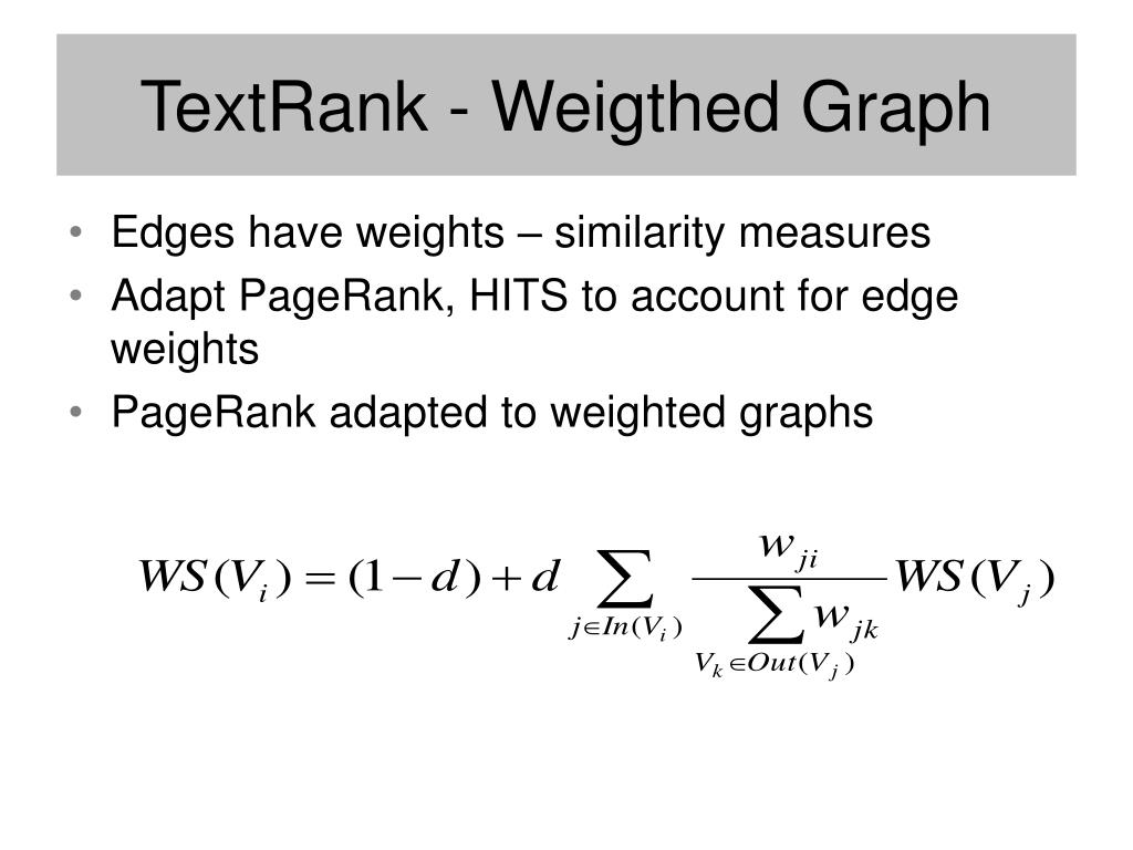TextRank - Weigthed Graph