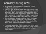 popularity during wwii