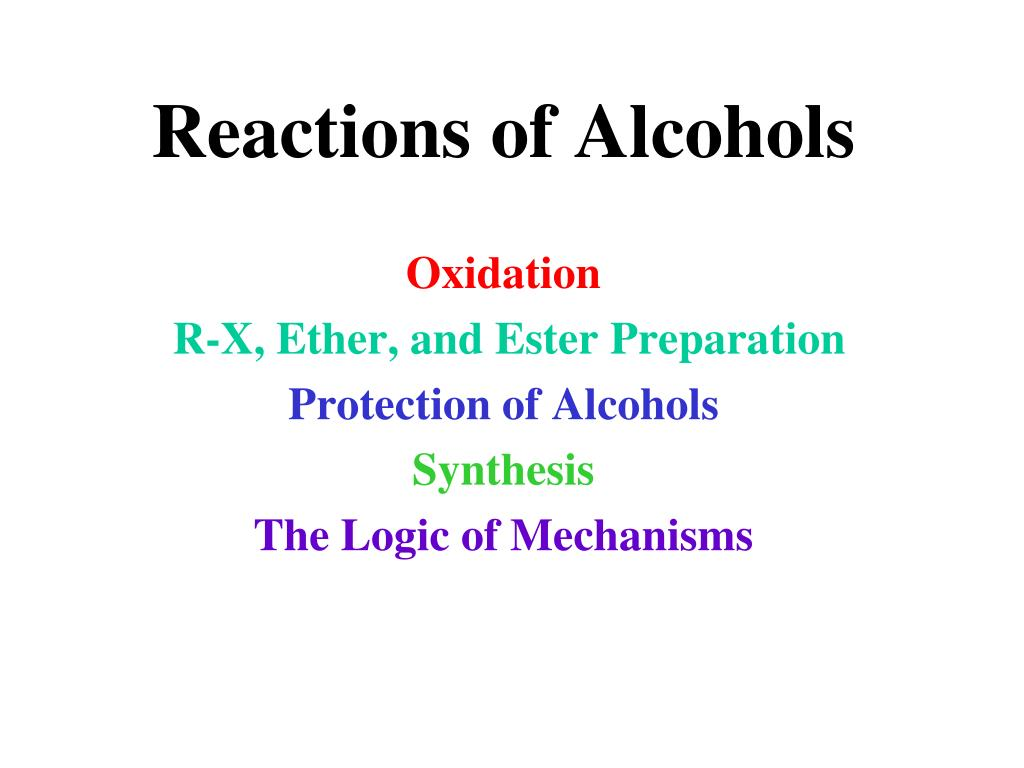 reactions of alcohols l.