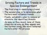 driving factors and trends in species endangerment
